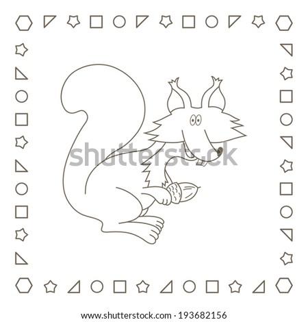Cartoon Squirrel Acorn Coloring Page Coloring Stock Illustration ...