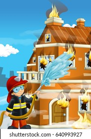 cartoon stage with fireman near burning building colorful scene
