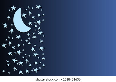 Cartoon stary night illustration with blank copy space