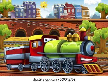 Cartoon steam train - train station - illustration for the children