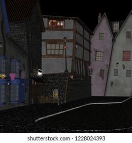 cartoon street in cartoon village 2d backdrop 2d game background 3d illustration 2d render