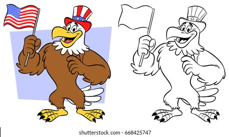 Cartoon style anthropomorphic eagle smiling, wearing a topper hat with stars on a blue background and red and white stripes, holding a flag of United States of America. Line art included.