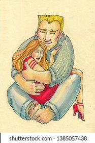 cartoon style. A big mighty blond man hugs a beautiful woman in a red dress. he looks simple and homely, she is young and well-groomed. they can be husband and wife or father and daughter.