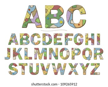 A cartoon style font depicting patchwork quilt letters. Raster.