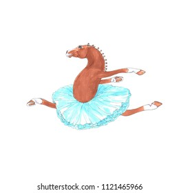 Cartoon Style Horse in a ballet Tutu. Funny Animal Illustration in Hand Painted Watercolor. Perfect for Card, Greeting Card, Poster, and Children Illustration and Decoration.