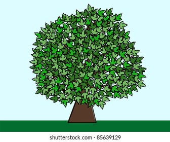 Cartoon Style Illustrated Tree - High Resolution JPEG Version. (vector version also available).