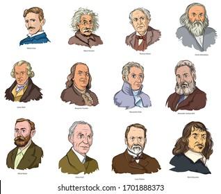 Cartoon style illustration of famous world scientists.