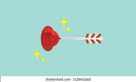Cartoon style lovestruck plunger with shiny sparks. 3d rendering picture.