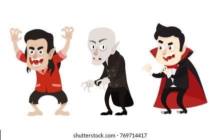 Cartoon Style Vampire Dracula Nosferatu Characters Set.