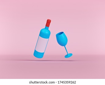 cartoon style Wine bottle with wine glass isolated. minimal concept icon. 3d rendering