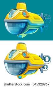 Cartoon submarine - isolated - illustration for the children