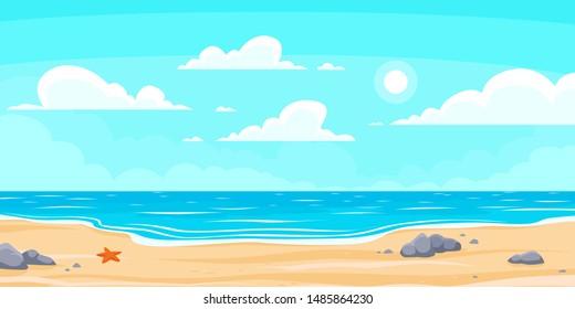 Cartoon summer beach. Paradise nature vacation, ocean or sea seashore. Seaside landscape, tropical beach relax or seaside landscape. background illustration
