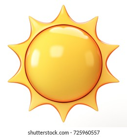 Cartoon sun 3d rendering