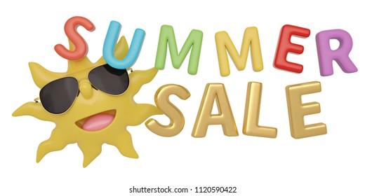 Cartoon sun summer slae background 3D illustration.