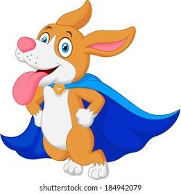 Cartoon Super Hero Dog Flying