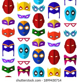 Cartoon Superhero Mask Seamless Pattern Background on a White Flat Style Design for Celebration Party or Holiday. illustration of Heroic Costume Element