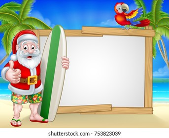 Cartoon of surfing Santa Claus on a tropical beach holding a surf board and giving a thumbs up. In his Hawaiian board shorts with parrot and background sign