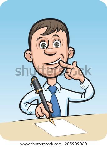 Cartoon Surprised Businessman Writing Letter Stock Illustration