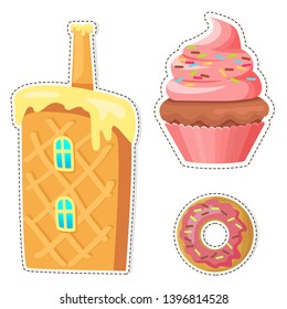 Cartoon sweets stickers or icons set. colorful cupcake with cream and glazed donut flat raster isolated on white background. waffle cake house chimney illustration outlined dotted line