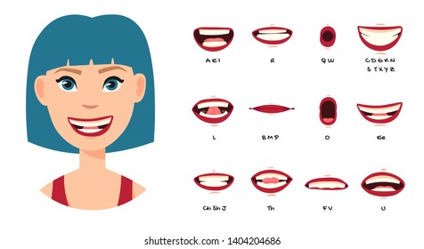 Cartoon talking mouth and lips expressions animations poses. Accent and pronunciation speak, tongue and articulate illustration