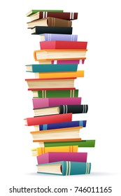 A cartoon tall stack of books on a white background.