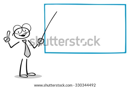 cartoon teacher holding presentation whiteboard stock illustration
