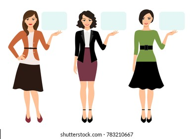 Cartoon teacher woman showing empty banner isolated on white background. Female character presentation illustration