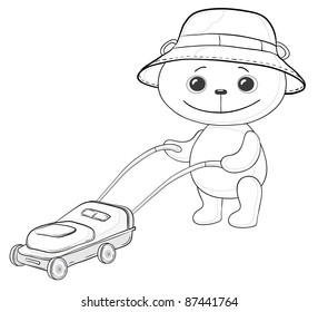 cartoon, teddy bear lawnmower work with the lawn mower, contours
