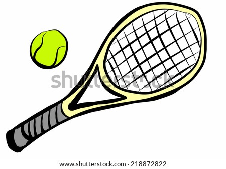 Cartoon Tennis Racket Ball Stock Illustration Royalty Free Stock