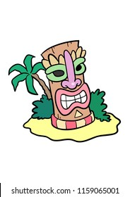 Cartoon Tiki Head on an island background. Head and island on separate layers