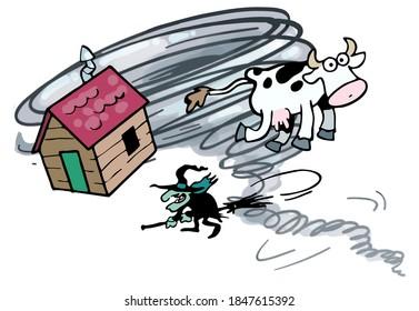 Tornade caricaturale avec vache et sorcière