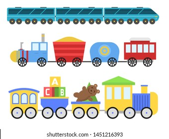 Cartoon toy train railroad and cartoon carriage game fun leisure joy gift locomotive transportation.