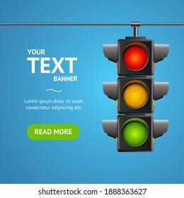 Cartoon Traffic Light Banner Card Business Concept Place for Text Element Flat Design Style. illustration of Stoplight
