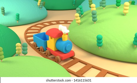 Cartoon train and mountain. 3d rendering picture.
