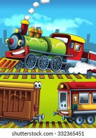 Cartoon trains scene - illustration for the children