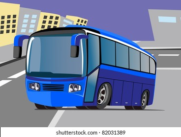 cartoon travel bus two