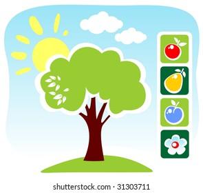 Cartoon tree and fruit set on a blue sky background.