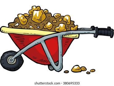 Cartoon trolley with gold nuggets