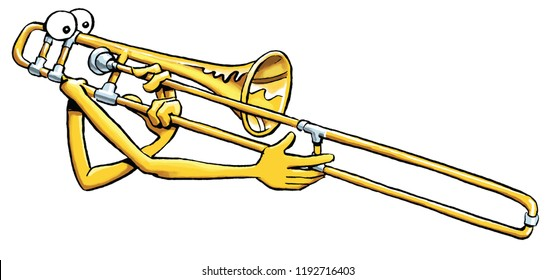 A cartoon trombone  playing itself.