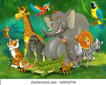 Cartoon tropic or safari - illustration for the children