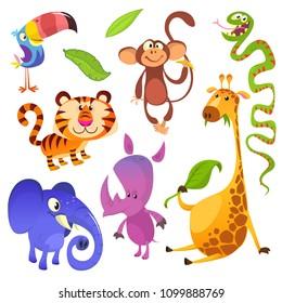 Cartoon tropical animal characters. Big set of cartoon jungle animals  illustration. Toucan, monkey, tiger, snake, elephant, rhino, giraffe. Clipart or logo