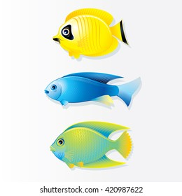 Cartoon  Tropical Fish. Butterfly Fish, Neon Fish and Queen Angel.