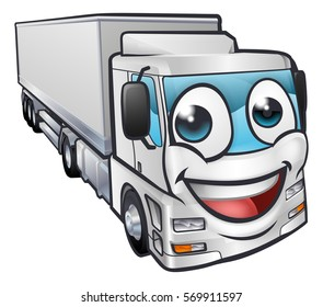A cartoon truck lorry transport logistics freight industry mascot character