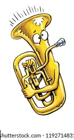 A cartoon  tuba playing itself.