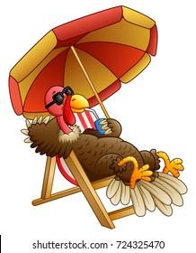 Cartoon turkey bird sitting on beach chair