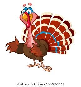 Cartoon turkey bird. Thanksgiving illustration