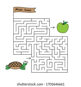 Cartoon turtle maze game. Funny game for children education