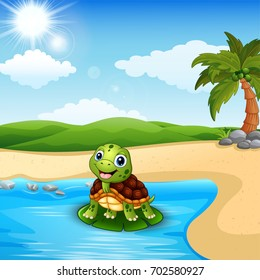 Cartoon turtle on the beach