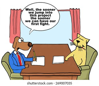 Cartoon of two businesspeople cat and dog on project together who do not get along, they might as well start so they can have their first fight.