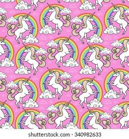 Cartoon unicorn seamless pattern